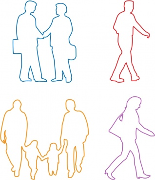 human icons sets silhouette style various activities design