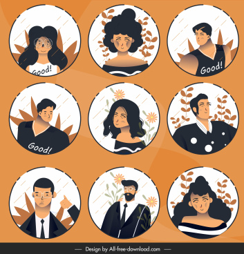 human portrait avatars cartoon character sketch classic design