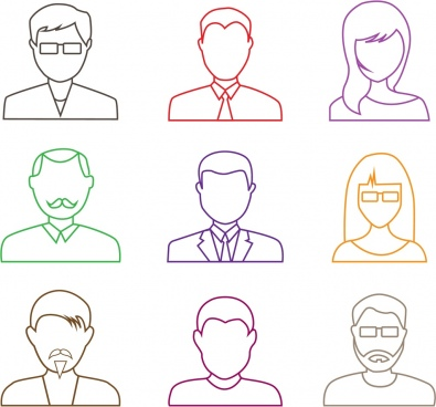 human portrait icons outline colored flat design