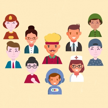 human profession icons colored cartoon avatars