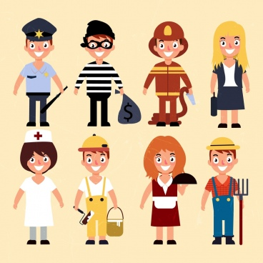 human profession icons colored cartoon characters