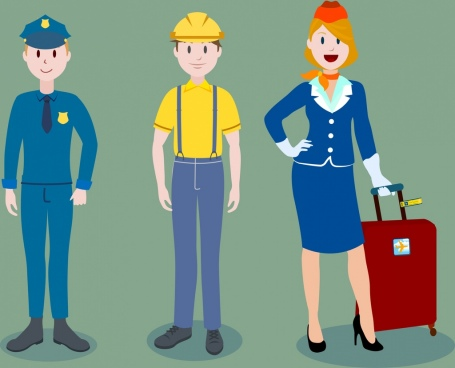 human profession icons police worker stewardess cartoon characters