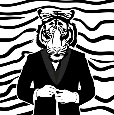 human tiger drawing black white design