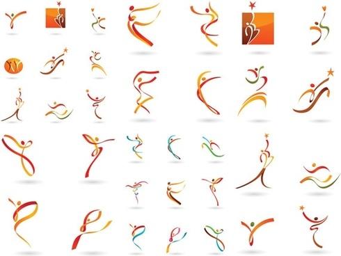 humanoid dynamic ribbon pattern vector