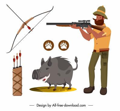 hunter design elements armed man pig sketch