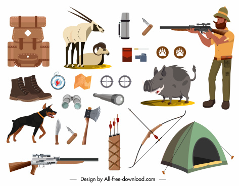 hunting design elements hunter tools animals sketch