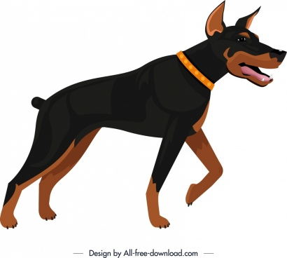 hunting dog icon colored cartoon design