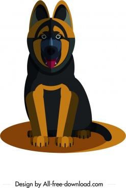 hunting dog icon dark black brown design