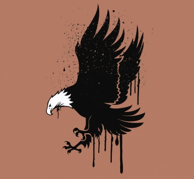 hunting eagle drawing watercolored grunge style