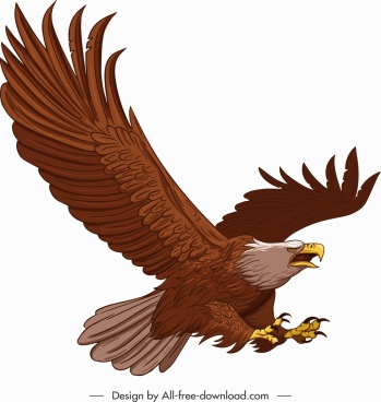 hunting eagle icon flying gesture straight wings sketch