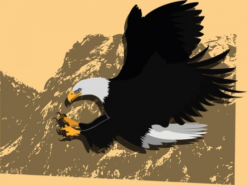 hunting eagle icon mountain background