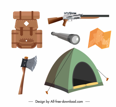 hunting job design elements personal utensils sketch