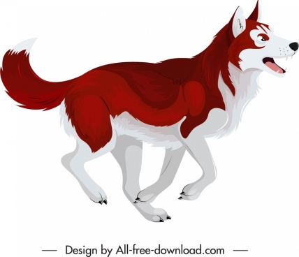 husky dog icon red white feather sketch
