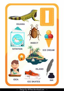 i alphabet education template colorful symbols sketch