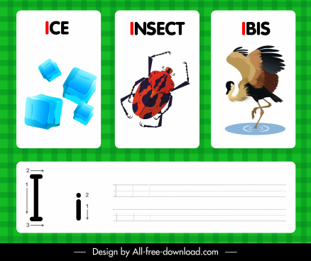 i alphabet teaching background ice insect ibis sketch