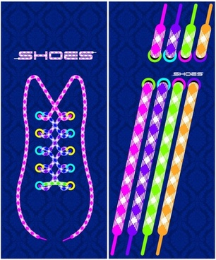shoes icons collection colorful lace decoration
