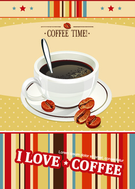 i love coffee theme poster design vector