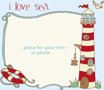 i love sea theme elements background vector