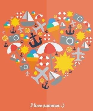 i love summer heart vector