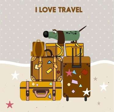 i love travel conceptual with suitcases illustration
