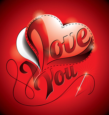 i love you heart card vector