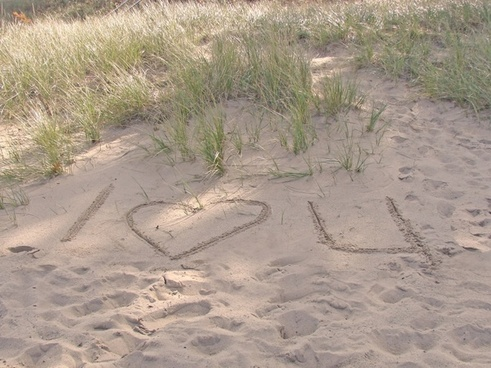 i love you in sand