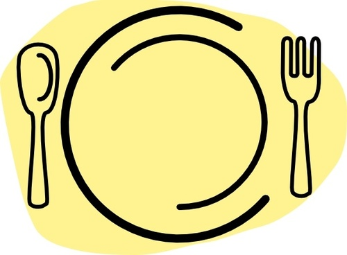 Iammisc Dinner Plate With Spoon And Fork clip art