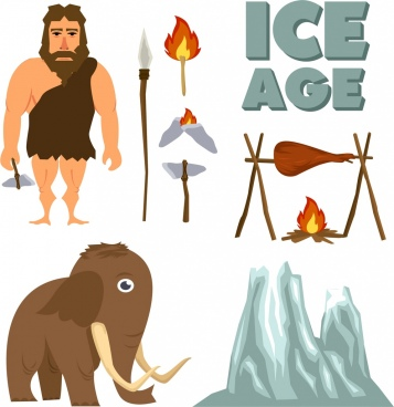 ice age design elements ancient icons colored cartoon