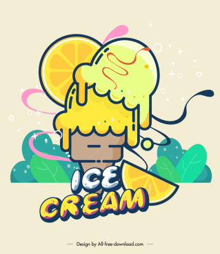 ice cream advertisement colorful flat design melting decor