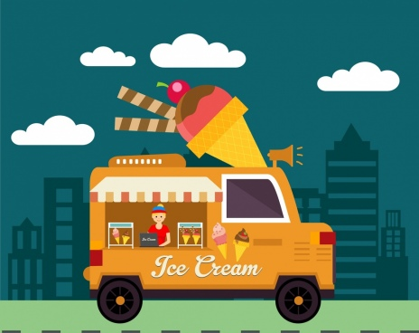 ice cream advertisement delivery car icon town background