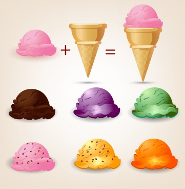 ice cream advertisement formulas design colored icons