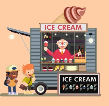ice cream advertising children mobile booth cartoon design