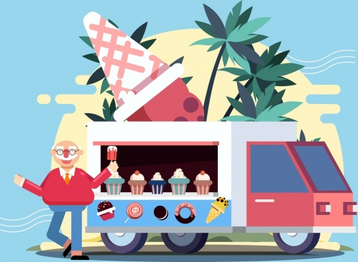 ice cream advertising man truck icons cartoon design