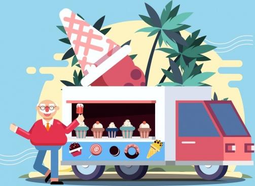 ice cream advertising man truck icons cartoon design