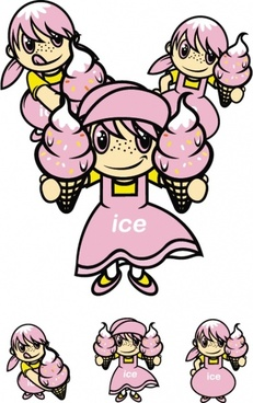 ice cream girl role vector
