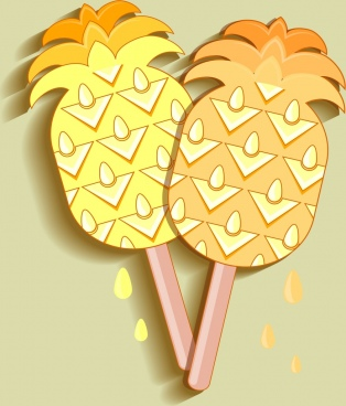 ice cream icon pineapple shape decor flat design