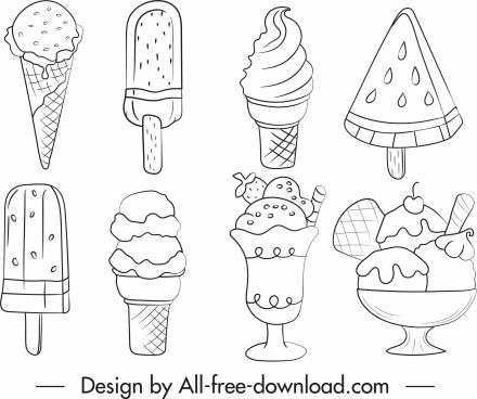 ice cream icons black white handdrawn sketch