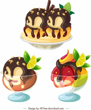 ice cream icons chocolate fruity glass decor