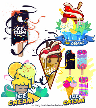 ice cream icons colorful decor