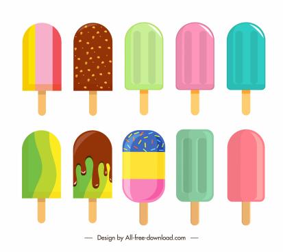 ice cream icons colorful decor bright flat design