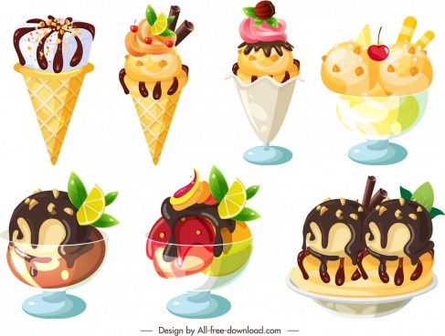 ice cream icons modern colorful fruity chocolate decor