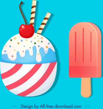 ice cream icons stick fruit decor colorful design