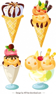ice cream icons templates modern chocolate fruity decoration
