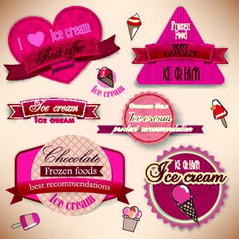 ice cream labels design vector