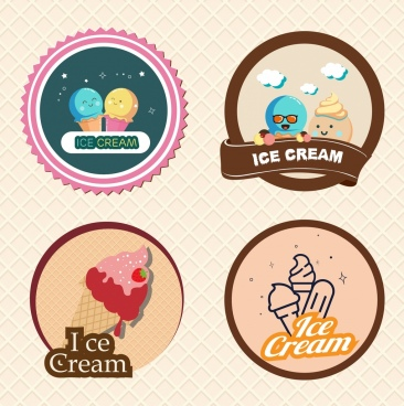 ice cream logo sets colored round isolation