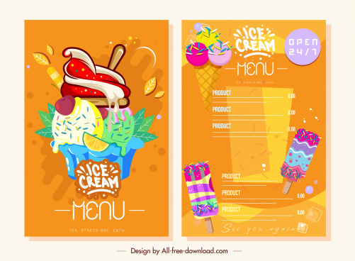 ice cream menu bright colorful flat decor