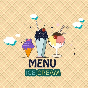 ice cream menu cover various colored icons decoration