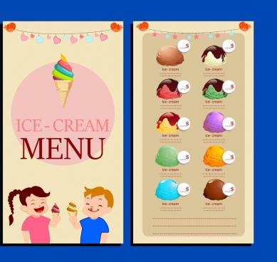 ice cream menu template children icons cute decoration