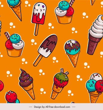 ice cream pattern template colorful flat repeating decor
