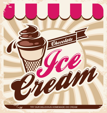 ice cream poster retro style vector